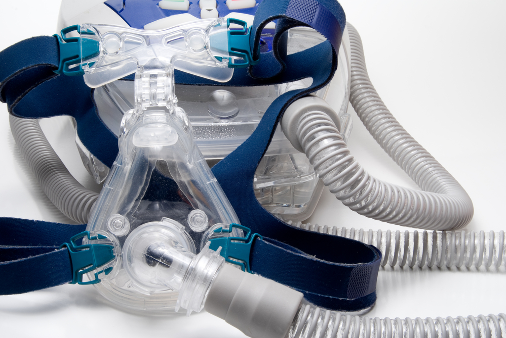 CPAP mask on a clear background