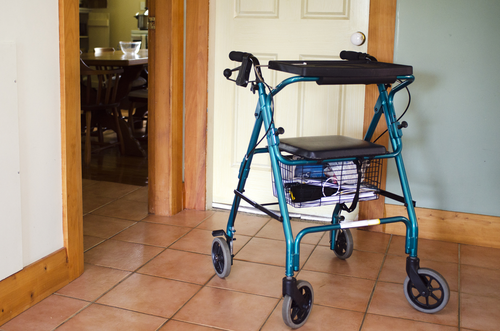 rollator walker with basket and tray